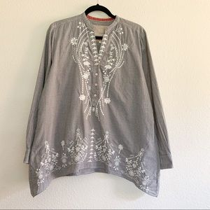 Johnny Was Gingham Embroidered Tunic Top